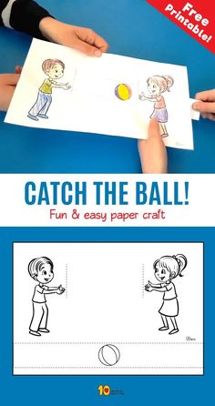 Catch the Ball- Fun & easy paper craft Ota kiinni Ball- hauska ja helppo paperikone Paper Crafts For Kids, New Crafts, Diy Arts And Crafts, Creative Crafts, Projects For Kids, Paper Crafting, Diy For Kids, Fireman Crafts, Art N Craft