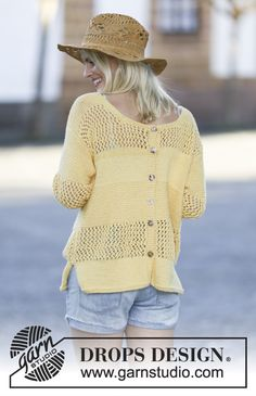 Take a walk on the sunny side in this happy jumper with stripes and button on the back! #DROPSDesign #ss2015 #knitting