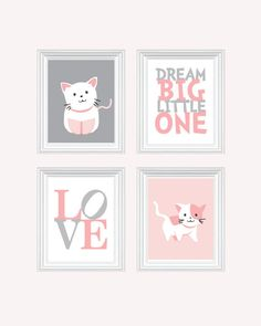 Cat Nursery Art - Baby Girl Nursery Art Kitten Nursery Prints Pink Baby Nursery Decor Quote Art You Are My Sunshine (49.99 USD) by BabyOnBoardShop