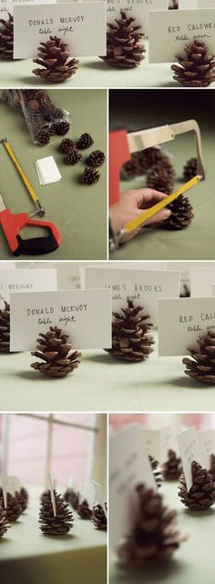 DIY pinecone name card holders for a camping themed party.: