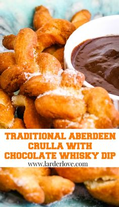 Aberdeen crulla with whisky chocolate dipping sauce are a super sweet treat rather like Churros or Koeksisters and are amazing with this rich chocolate whisky dip. #scottishrecipes #scottishbaking #larderlove
