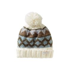 Women's Merrell Frost Beanie - Eggshell Winter Hats featuring polyvore, fashion, accessories, hats, eggshell, beanie cap hat, oversized beanie, oversized pom pom beanie, beanie cap and fur hat