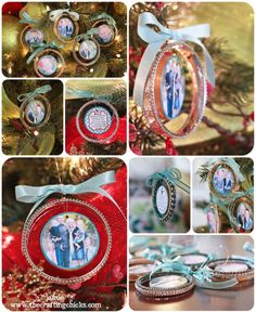 handmade photo ornaments - fancy bangle style.. these are a great idea!