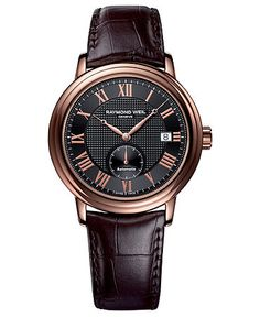 RAYMOND WEIL Watch, Men's Swiss Automatic Maestro Brown Leather Strap 40mm 2838-PC5-00209