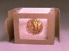 "Roberta Lavadour Pendleton, OR  Harvest Moon © 1998  Handmade paper, birch twigs, printed vellum, tunnel book, 7"" x 9"" x 9"", edition of 1"