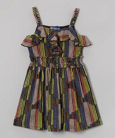 Look what I found on #zulily! Black Stripe Ruffle Dress - Girls #zulilyfinds