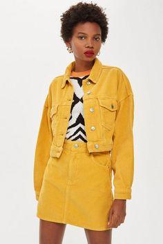 Mustard Corduroy Skirt - Clothing- Topshop