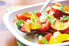 Nectarine and Tomato Salad—Tomatoes and nectarines might seem like an unusual combination, but they're in season at the same time and go together beautifully. Nectarine And Tomato Salad, Nectarine Recipes, Tomato Salad Recipes, Veggie Recipes, Healthy Recipes, Veggie Meals, Healthy Cooking, Cooking Recipes, Cooking Ideas