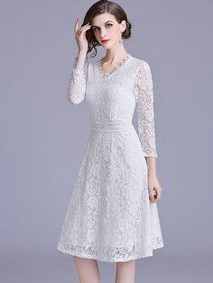 bb361d5791a Vinfemass Solid Color V-neck Lace Party Dress