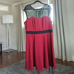 Sexy dress womens 2x In excellent condition shows off ur curves in this sext dress color is just like the picture like raspberry deep red and with sexy black accent paper doll Dresses Midi