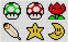 Various Mario icons, 1up, star, moon, easy cross stitch patterns!