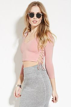 Buy it now. FOREVER21 Women's  Pink Lace-Up Crop Top. lace up,crop top,v-neckline , topcorto, croptops, croptops, croptop, topcrop, topscrops, cropped, bailarina, topbailarina, corto, camisolacorta, topcortoestilobandeau, crop, bralet, strappybralet, bandeautop. Hot pink FOREVER21  crop top  for woman.