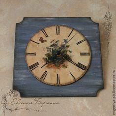 """Купить Часы настенные """"Фиалки"""" декупаж - тёмно-синий, часы настенные, часы интерьерные"""
