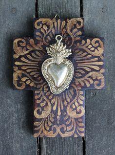 Hand Painted Sacred Heart Milagro / Miracle Cross Mexican Folk Art Michoacán