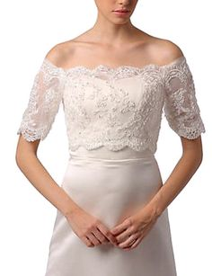 Wedding Wraps Shrugs Half-Sleeve Lace White Wedding / Party/Evening / Office & Career / Casual Off-the-shoulder Lace 717955 2017 – £26.39