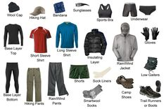 The clothing that thru-hikers carry to hike the Appalachian Trail.