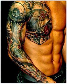 Biomechanical Tattoo Ideas For Men On Sleeve