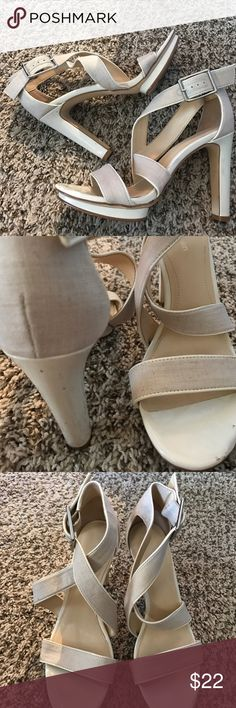 "Calvin Klein Patent & Linen Strappy sandals About a 4.5"" off-white patent heel - a light beige linen strap Calvin Klein Shoes Sandals"