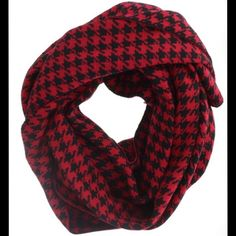 {Cozy} Soft & Warm Red & Black Houndstooth Scarf Like new. Can be worn many ways. Accessories Scarves & Wraps