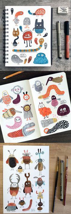 Illustration • Elise Gravel • Drawings • creatures • bugs • monsters • cute • Fun • art • funny • sketchbook • sketch • doodles • watercolor