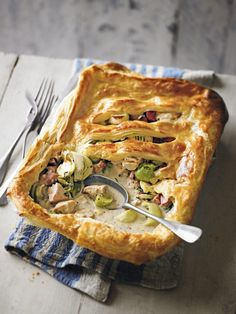 Use up leftover turkey from Christmas day with our turkey, gammon and sprout pot pie - it's delicious served with steamed greens. Gammon Recipes, Pie Recipes, Cooking Recipes, Recipies, Savoury Recipes, Savoury Dishes, Food Dishes, Yummy Recipes, Vegetarian Recipes