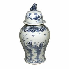 Legend Of Asia Blue & White Temple Jar With 8 Immortals Motif 1209