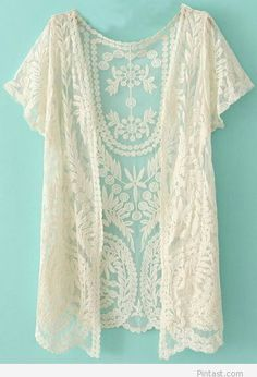 Sweet lace cardigan - think this would easily dress up an otherwise more casual top
