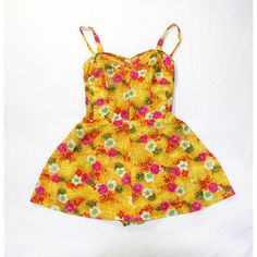 1950s B. Altman Co Vintage Hawaiian Jumper Floral Print Onesie Yellow... ($144) ❤ liked on Polyvore featuring jumpsuits, rompers, vintage floral romper, yellow rompers, floral romper, floral skort and playsuit romper