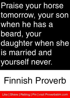 Praise your horse tomorrow, your son when he has a beard, your daughter when she is married and yourself never. Wisdom Quotes, Words Quotes, Quotes To Live By, Life Quotes, Sayings, Relationship Quotes, Wise Men Say, African Proverb, Proverbs Quotes