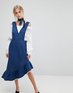 Current Air | Current Air Denim Midi Dress with Raw Hem Ruffle