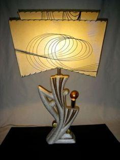 50s-VTG-Mid-Century-Atomic-2-Bulb-Deco-Majestic-Lamp-2-Tier-Fiberglass-Shade