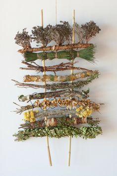 Weaving by Monica Guilera and Tim Johnson, work in progress, diverse plant materials, May 2013. Ports i Mans. #EarthDay