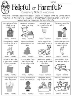 Are your choices helpful or harmful? This page is part of a Natural Resources unit geared toward third graders. Earth Day Projects, Earth Day Crafts, Creative Activities For Kids, Educational Games For Kids, Earth For Kids, Earth Day Coloring Pages, Living And Nonliving, Recycling For Kids, Social Studies Worksheets