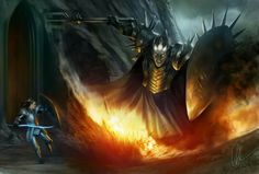 """""""...But Fingolfin sprang aside, and Grond rent a mighty pit in the earth.... Many times Morgoth essayed to smite him, and each time Fingolfin leaped away...""""  - The Silmarillion  Fingolfin and Morgoth by Gerwell  On the nose a bit for my first post, but love this particular image I do.  Le hannon, ~ Fingolfin"""
