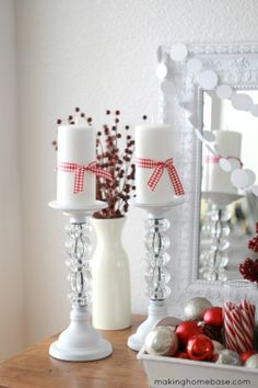 A Red & White Christmas Vignette | Making Home Base