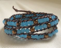 3-Wrap Bracelet in Light Blue and Gold
