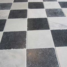 Checkered Tile Floors - Get that Black and White Marble Checkered Look Quarry Tiles, Stone Quarry, Stone Tiles, Checkered Floors, Polished Porcelain Tiles, Limestone Flooring, Outdoor Tiles, Black And White Marble, Antique Tiles