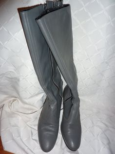 Vintage 70s Grey Leather High Heel Boot by AlmostHomeMemories, $38.00