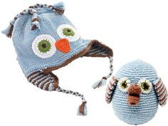Fair Trade handmade baby owl rattle & hat set. €20