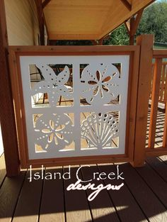 Exterior Vinyl Shutters House Trim w/ Nautical Cutouts, Nautical Azek House Trim, Nautical Gate Panels Porch Railing Panels Roof Trim, Outdoor Wall Panels, Vinyl Shutters, Porch Styles, Exterior Vinyl Shutters, Porch Railing Diy, Fishing Decor, Porch Trim, Pvc Vinyl