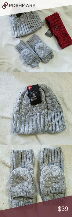 Under Armour Set Gray & Pink Cold Gear NWT Under Armour 3 piece set Cold Gear Gray Beanie $27.99 new with tags. One size Gray mittens $21.99 no tags, new Small/ Medium  Pink Headband $21.99  new with tags One Size Under Armour Accessories Gloves & Mittens