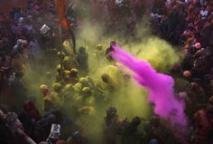 each spring, Holi revelers hurl neon powder (gulal) and colored water into the air, tie-dying participants into spirographs of color. The colors are said to represent energy, life, joy, and the coming of spring