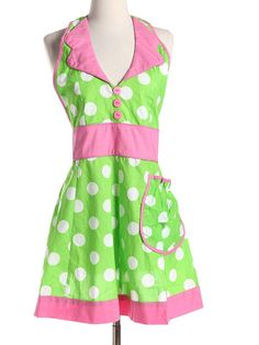 Vintage Style Aprons Pink and green