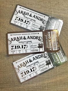 Lights, camera, action! If you want to set the tone with your theatre themed party, vintage wedding or event, these movie ticket invitations will set the tone. Available in several foil colors.