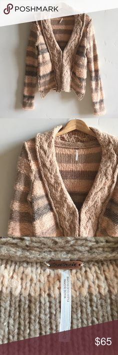 Free People Oversized Wool Blend Chunky Cardigan Gorgeous, soft and comfy, peach and gray chunky cardigan.  Multi-textured knit throughout.  Hook and eye closure. 48% acrylic, 22% wool, 13% cotton and 12% nylon.  Perfect oversized cardigan for smaller sizes.  In excellent condition. Free People Sweaters Cardigans