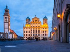 Townhall square- Augsburg by Juniquepics.de by Jan Hauser - Photo 207800643 / 500px.  #sky #city #beauty #street #travel #blue #night #sun #light #clouds #urban #architecture #cityscape #lights #building #beautiful #orange #evening #germany #earth #places #place #cool #tranquil #capital #human #tranquility #bluehour #augsburg #freestateofbavaria