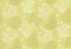 Norcombe Citron (0271NRCITRO) - Little Greene Wallpapers - A pretty,simple floral pattern in two colours set on a contrasting background -  based on a 1949 original.  Shown in the soft citron yellow green  Available in other colours. Please request sample for true colour match.