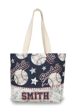 Custom Personalized Baseball Tote Bag