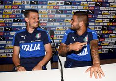 Alessandro Florenzi (L) and Lorenzo Insigne of Italy smile prior to press conference at Casa Azzurri on June 29, 2016 in Lyon, France.