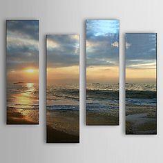 pintura al óleo del mar y la playa paisaje conjunto de 4 con marco estirado 1307-ls0106 lienzo pintado a mano – MXN $ 2,282.68